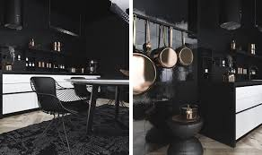 black kitchen design stylish simple home design with monochrome color schemes roohome