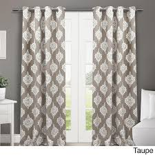 93 Inch Curtains 84 Inch Taupe Brown White Medallion Curtains Panel Pair Set Light