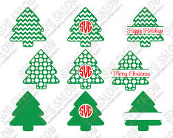 monogram christmas polka dot and chevron christmas tree monogram cut file set