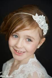 flower girl hairstyles uk lace and rhinestone headband first holy communion flower girl hair