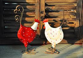 2 pcs vintage look rustic metal chicken wedding gift rooster
