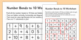 number bonds to 10 matching cards animals number bonds