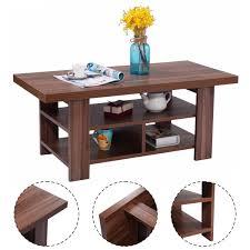 Wooden Living Room Furniture Amazon Com Giantex Wood Coffee Table Rectangle Modern Living Room