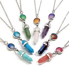 accessories chain necklace images Hexagonal prism crystal natural stone pendant chain necklace jpg