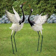 large crane garden statue yard decor outdoor ornaments lawn