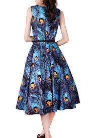 14091911 1950s pinup vintage rockabilly peacock feathers dress