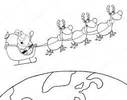 outlined team of reindeer and santa in his sleigh flying u2014 stock