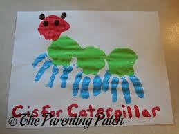 c is for caterpillar handprint craft parenting patch