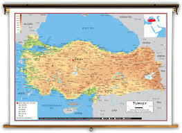 Physical Map Of Europe Rivers by Turkey Physical Educational Wall Map From Academia Maps