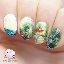 freehand coast side landscape nail art landscaping pretty nail