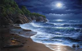 nature beaches landscapes waves ocean sea seascape cliff trees tropical sky clouds moon moonlight art artistic paintings wallpaper 1920x1200 27198