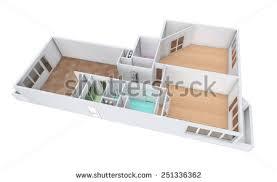 three room apartment 3d rendering model threeroom apartment tile stock illustration