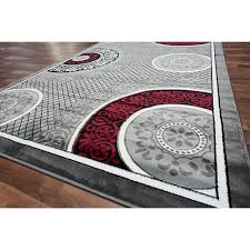 Black And Red Shaggy Rugs Gray And Red Rug Rugs Decoration