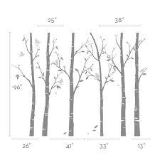 Wall Stickers Trees Birch Tree Wall Decals Sticker Set