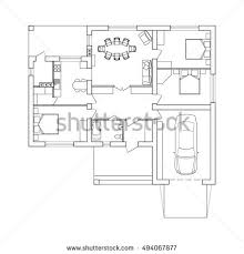 Floor Plan Interior Architectural Plan House Top View Floor Stock Vector 675003844