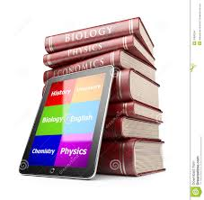 e learning tablet pc and textbooks education online stock