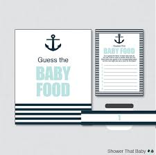 nautical baby shower game guess the baby food activity in blue