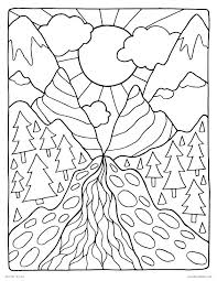 free printable coloring pages for adults landscapes coloring pages of mountains mountain pass landscape peaceful nature