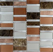 Stone Mosaic Tile Backsplash Stainless Steel  Glass Metal Tiles MG - Glass and metal tile backsplash