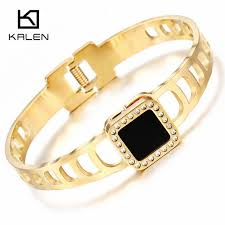 clasp bangle bracelet images Kalen trendy rhinestone stainless steel pakistani gold color jpg