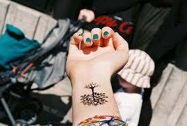 amazing tree with roots and leaves black wrist tattoos photos