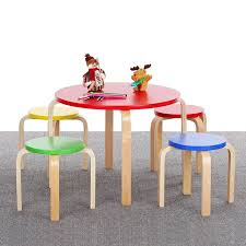 Kids Round Table And Chairs Aliexpress Com Buy Ikayaa Cute Solid Wood Round Kids Table And 4