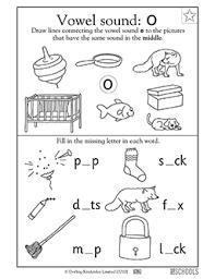 1st grade kindergarten preschool reading worksheets vowel