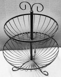 fruit basket stand 2 tier fruit basket rack stand holder storage metal wire stripes
