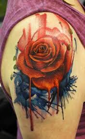 watercolor cool realistic rose tattoo on shoulder golfian com