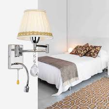 Swing Arm Wall Sconces For Bedroom Crystal Bedside Wall Lamp 3w Led Reading Light Lamp Plumbing Hose