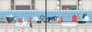 how to clean soiled kitchen cabinets and clean kitchen background with washing dishes symbols flat vector illustration