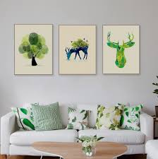 popular deer flat buy cheap deer flat lots from china deer flat triptych modern watercolor deer head canvas a4 art print poster tree forest wall picture living room