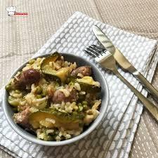 cuisiner les petits pois riz aux chipolatas courgettes petits pois recette cookeo mimi