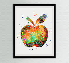 apple watercolor art prints fruits home wall decor artworks wall