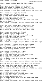 dolly parton song those were the days lyrics