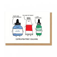complimentary colours greeting card ohh deer