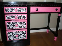 White And Pink Desk by Exotic Black And Pink Wooden Girls White Desk Ideas With Dark Floral Pattern Jpg