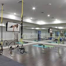 Fitness Gym Design Ideas Basement Gym With Mirrored Walls And Wood Floors Fitness