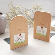 Be Right Back Bookend Simple Wood Japanese Style Nature Beech Wood Book Stand Bookends