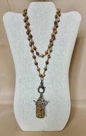 bead necklace charms images Wood rosary bead necklace with rhodium cz om charm and antique jpg