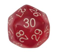 redcolor 30 sided polyhedral dice d30 32mm translucent red color 1