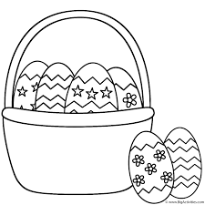 easter basket with easter eggs and two eggs coloring page easter