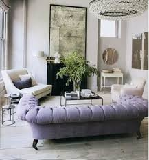 Living Room With Purple Sofa Mismatched Furniture