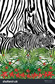 zebra leopard print palm leaf tropical stock vector 230598508