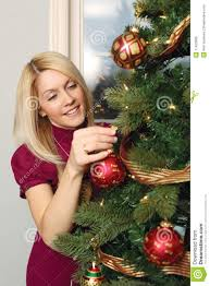 hanging ornaments on a christmas tree royalty free stock photo