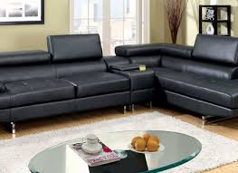 Black Leather Sofa With Chaise Modern Black Leather Sectional Sofa Alley Cat Themes