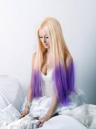 Two Tone Ombre Hair Extensions by 32 Inch Bleach Blonde And Purple Ombre Clip In Hair Extensions Two