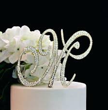k cake topper k cake topper monogram gold wedding decorated with crystals in any
