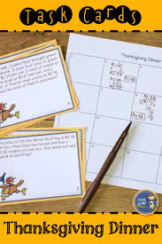 thanksgiving dinner task cards provides real world math word
