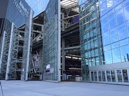the green glass door game u s bank stadium u0027s giant doors open for first time this morning